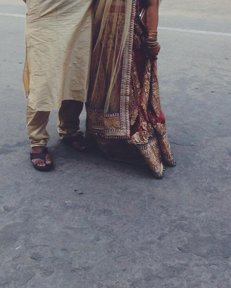 Couple in Indian wedding clothes